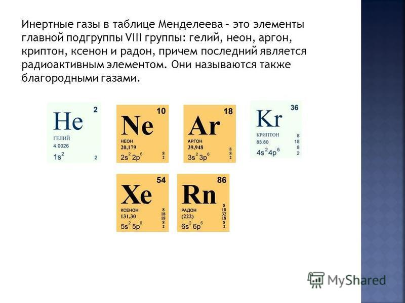 Инертные газы в таблице Менделеева – это элементы главной подгруппы VIII группы: гелий, неон, аргон, криптон, ксенон и радон, причем последний является радиоактивным элементом. Они называются также благородными газами.
