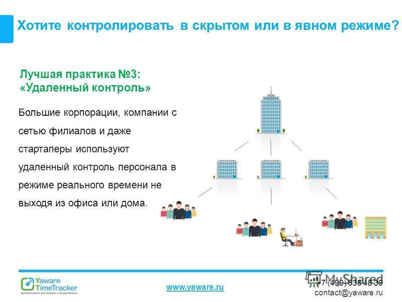 +7 (499) 638 48 39 contact@yaware.ru www.yaware.ru Хотите контролировать в скрытом или в явном режиме? Лучшая практика 3: «Удаленный контроль» Большие корпорации, компании с сетью филиалов и даже стартаперы используют удаленный контроль персонала в р