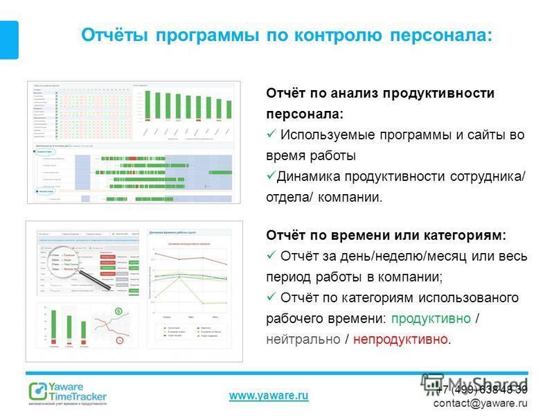 +7 (499) 638 48 39 contact@yaware.ru www.yaware.ru Отчёты программы по контролю персонала: Отчёт по анализ продуктивности персонала: Используемые программы и сайты во время работы Динамика продуктивности сотрудника/ отдела/ компании. Отчёт по времени
