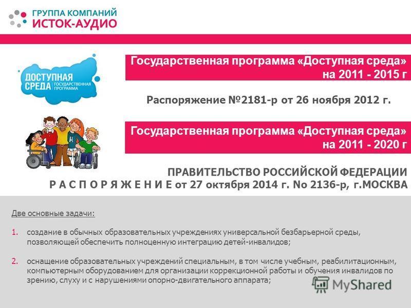Государственная программа «Доступная среда» на 2011 - 2015 г Две основные задачи: 1. создание в обычных образовательных учреждениях универсальной безбарьерной среды, позволяющей обеспечить полноценную интеграцию детей-инвалидов; 2. оснащение образова