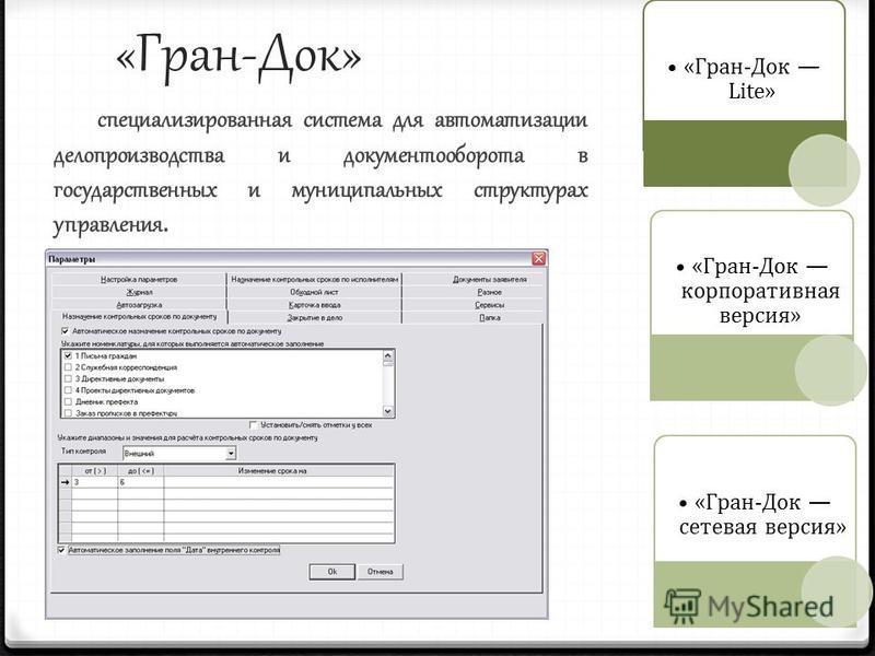 «Гран-Док» специализированная система для автоматизации делопроизводства и документооборота в государственных и муниципальных структурах управления. «Гран-Док Lite» «Гран-Док сетевая версия» «Гран-Док корпоративная версия»