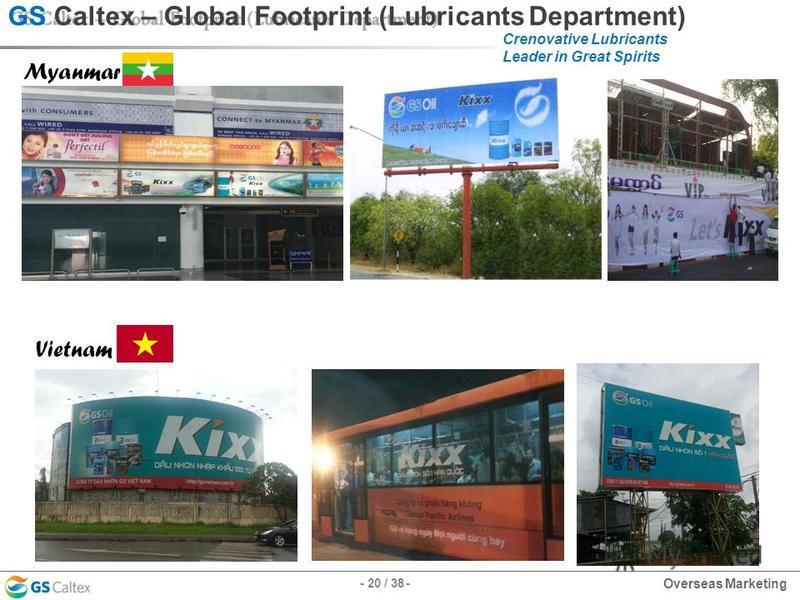 Crenovative Lubricants Leader in Great Spirits GS Caltex – Global Footprint (Lubricants Department) Myanmar Vietnam - 20 / 38 - Overseas Marketing