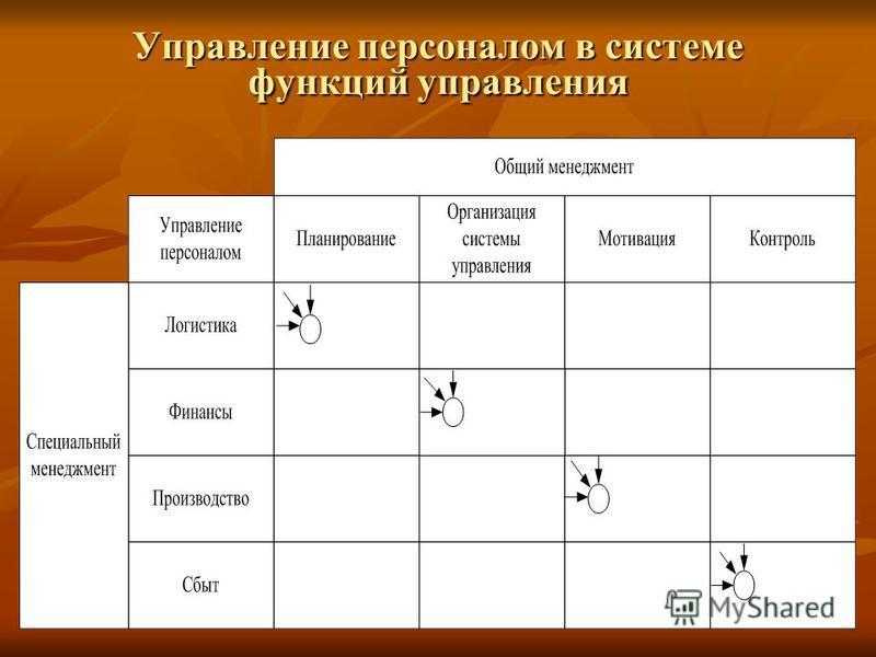 Управление персоналом в системе функций управления
