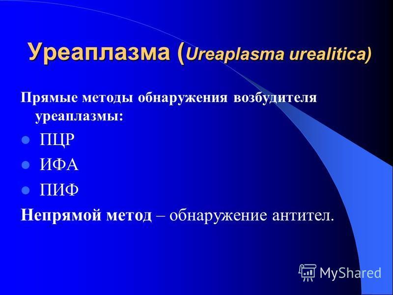 Уреаплазма ( Ureaplasma urealitica) Прямые методы обнаружения возбудителя уреаплазмы: ПЦР ИФА ПИФ Непрямой метод – обнаружение антител.
