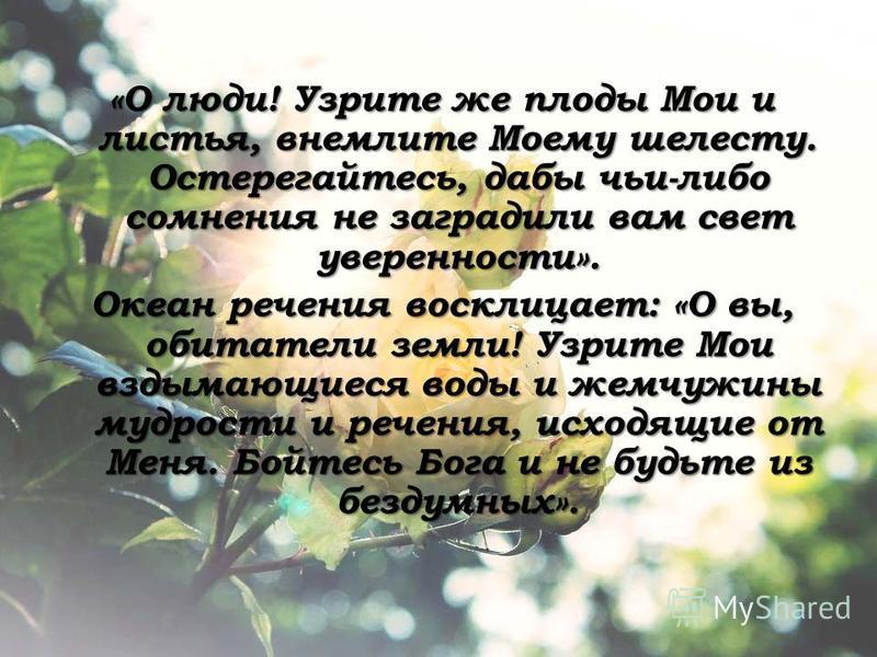 «О люди! Узрите же плоды Мои и листья, внемлите Моему шелесту. Остерегайтесь, дабы чьи-либо сомнения не заградили вам свет уверенности». Океан речения восклицает: «О вы, обитатели земли! Узрите Мои вздымающиеся воды и жемчужины мудрости и речения, ис