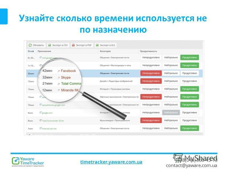 +38(044) 360-45-13 contact@yaware.com.ua Узнайте сколько времени используется не по назначению timetracker.yaware.com.ua