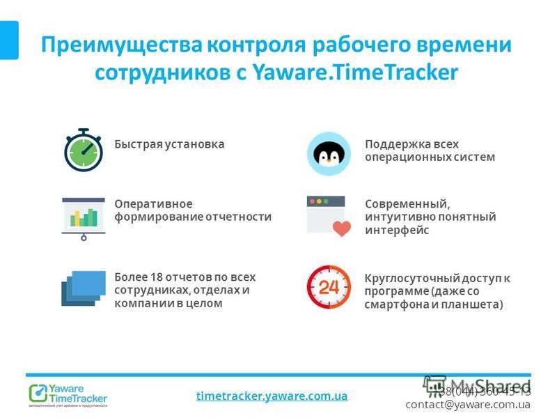 +38(044) 360-45-13 contact@yaware.com.ua Преимущества контроля рабочего времени сотрудников с Yaware.TimeTracker timetracker.yaware.com.ua Быстрая установка Круглосуточный доступ к программе (даже со смартфона и планшета) Современный, интуитивно поня