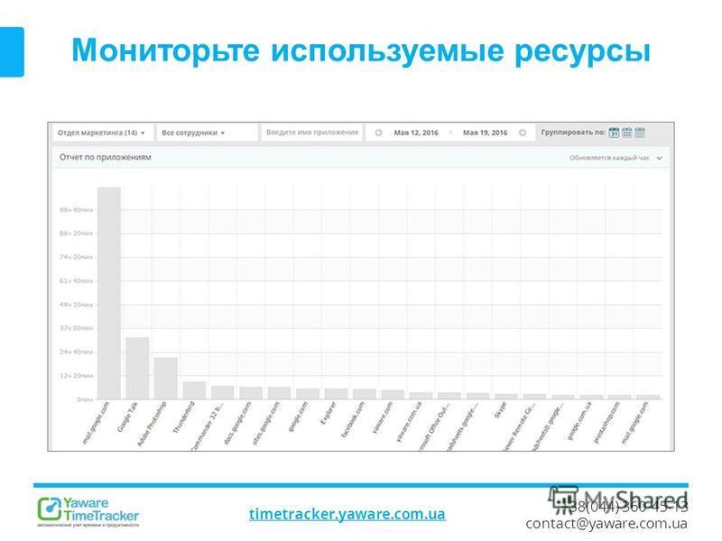 +38(044) 360-45-13 contact@yaware.com.ua timetracker.yaware.com.ua Мониторьте используемые ресурсы