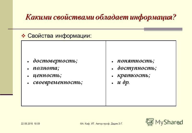 22.08.2016 10:11 ФА. Каф. ИТ. Автор проф. Дадян Э.Г.36 Какими свойствами обладает информация? Свойства информации: