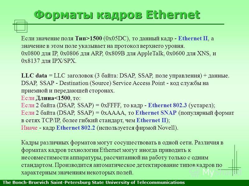 Форматы кадров Ethernet Если значение поля Тип>1500 (0x05DC), то данный кадр - Ethernet II, а значение в этом поле указывает на протокол верхнего уровня. 0x0800 для IP, 0x0806 для ARP, 0x809B для AppleTalk, 0x0600 для XNS, и 0x8137 для IPX/SPX. LLC d