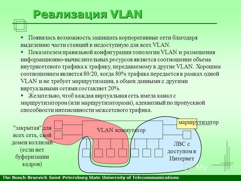 Реализация VLAN Появилась возможность защищать корпоративные сети благодаря выделению части станций в недоступную для всех VLAN. Показателем правильной конфигурации топологии VLAN и размещения информационно-вычислительных ресурсов является соотношени