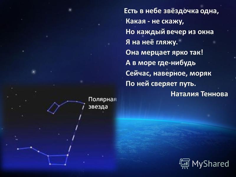 Есть в небе звёздочка одна, Какая - не скажу, Но каждый вечер из окна Я на неё гляжу. Она мерцает ярко так! А в море где-нибудь Сейчас, наверное, моряк По ней сверяет путь. Наталия Теннова