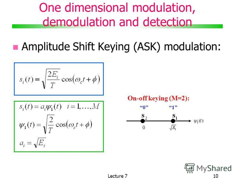 Lecture 710 One dimensional modulation, demodulation and detection Amplitude Shift Keying (ASK) modulation: 0 01 On-off keying (M=2):