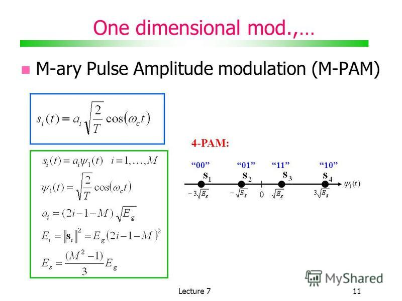 Lecture 711 One dimensional mod.,… M-ary Pulse Amplitude modulation (M-PAM) 4-PAM: 0 00011110