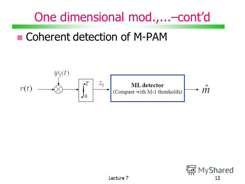Lecture 713 Coherent detection of M-PAM ML detector (Compare with M-1 thresholds) One dimensional mod.,...–contd