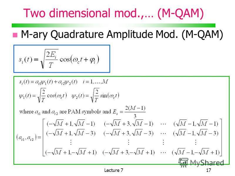 Lecture 717 Two dimensional mod.,… (M-QAM) M-ary Quadrature Amplitude Mod. (M-QAM)