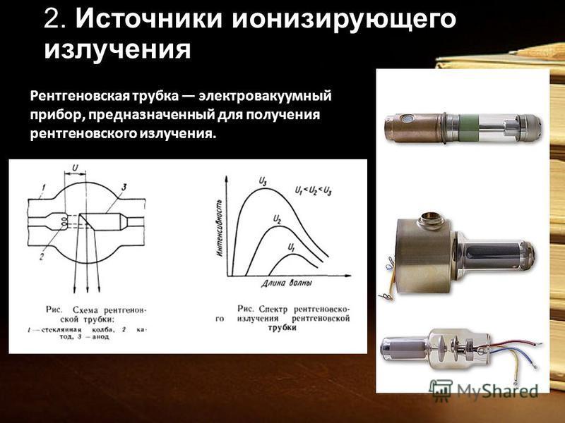2. Источники ионизирующего излучения Рентгеновская трубка электровакуумный прибор, предназначенный для получения рентгеновского излучения.