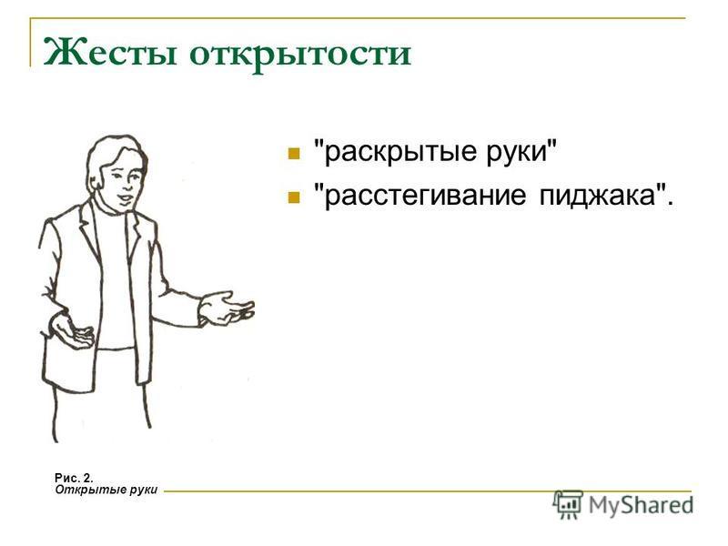 Жесты открытости раскрытые руки расстегивание пиджака. Рис. 2. Открытые руки
