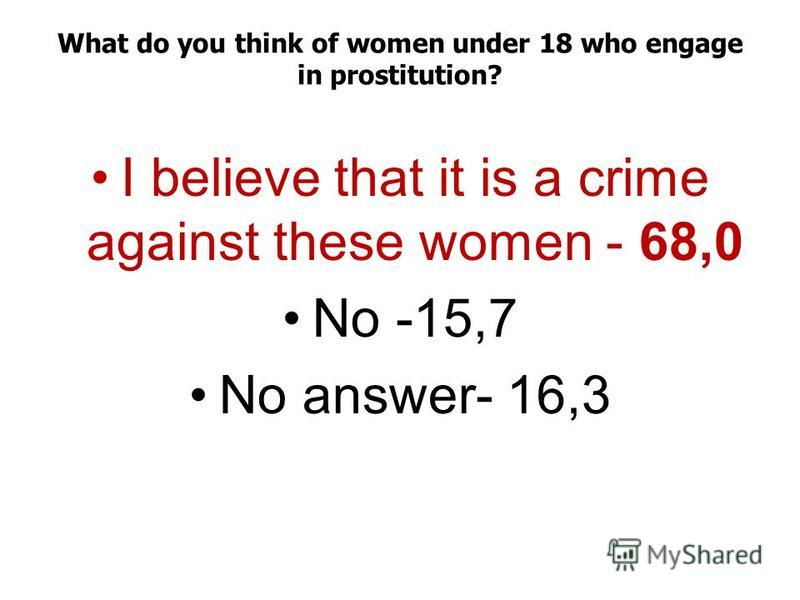 What do you think of women under 18 who engage in prostitution? I believe that it is a crime against these women - 68,0 No -15,7 No answer- 16,3