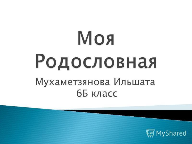 Мухаметзянова Ильшата 6Б класс