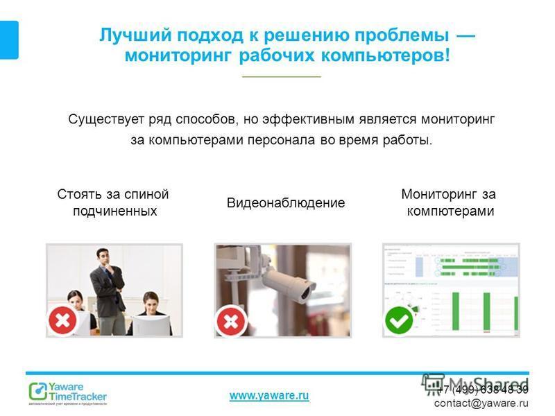 +7 (499) 638 48 39 contact@yaware.ru www.yaware.ru Лучший подход к решению проблемы мониторинг рабочих компьютеров! Существует ряд способов, но эффективным является мониторинг за компьютерами персонала во время работы. Стоять за спиной подчиненных Ви