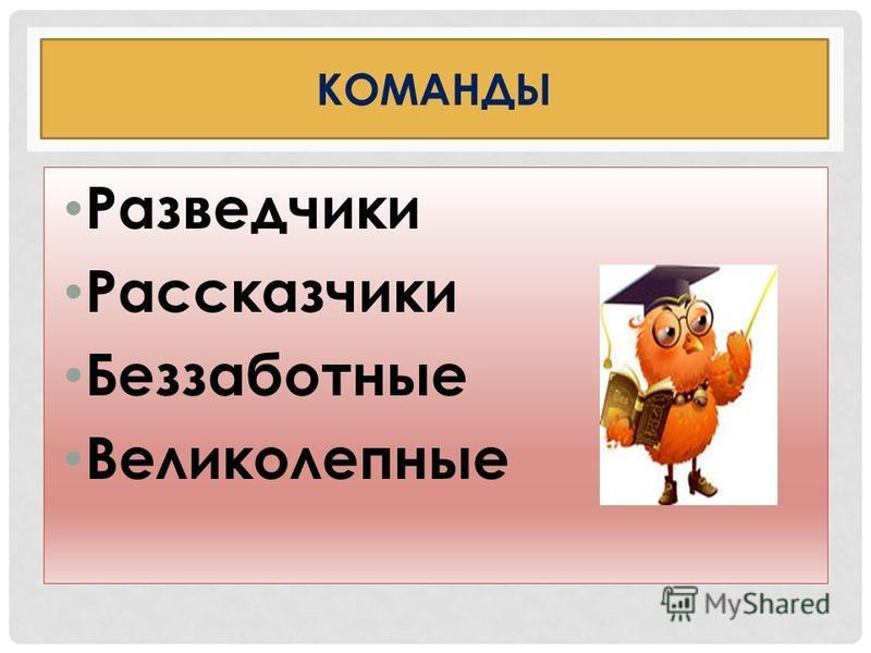 КОМАНДЫ Разведчики Рассказчики Беззаботные Великолепные