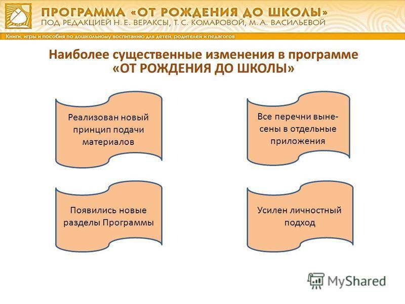 Реализован новый принцип подачи материалов Все перечни вынесены в отдельные приложения Появились новые разделы Программы Усилен личностный подход