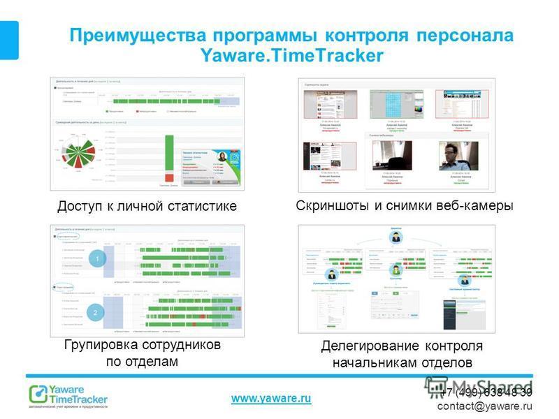 +7 (499) 638 48 39 contact@yaware.ru www.yaware.ru Преимущества программы контроля персонала Yaware.TimeTracker Групировка сотрудников по отделам Доступ к личной статистике Делегирование контроля начальникам отделов Скриншоты и снимки веб-камеры