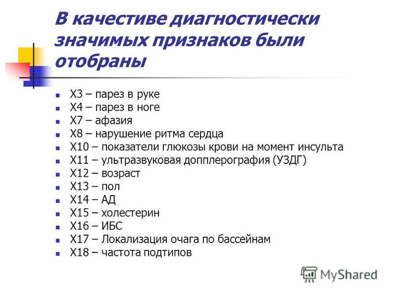 В качестиве диагностический значимых признаков были отобраны X3 – парез в руке X4 – парез в ноге X7 – афазия X8 – нарушение ритма сердца X10 – показатели глюкозы крови на момент инсульта X11 – ультразвуковая допплерография (УЗДГ) X12 – возраст X13 –