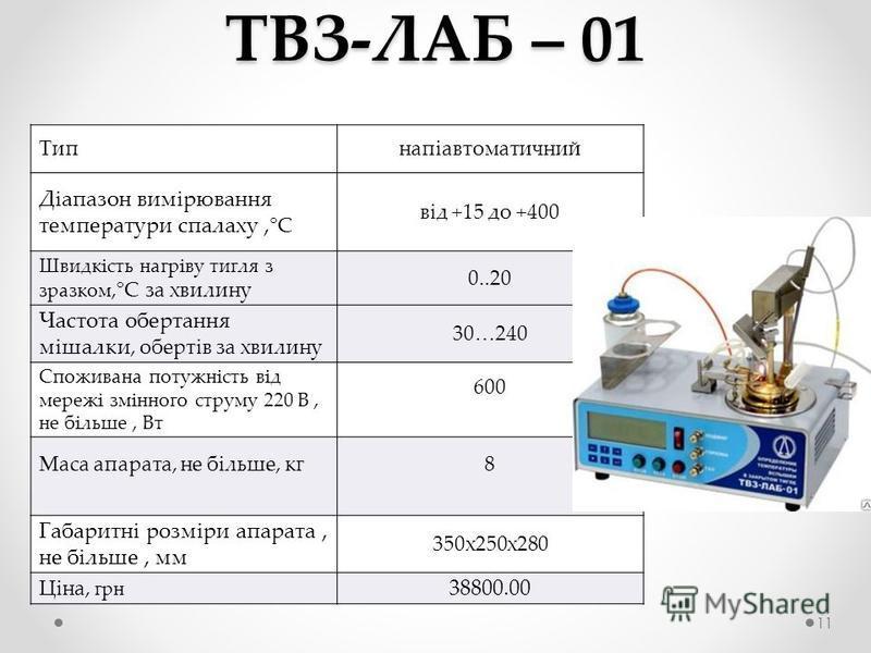 ТВЗ-ЛАБ – 01 Типнапіавтоматичний Діапазон вимірювання температури спалаху, °С від +15 до +400 Швидкість нагріву тигля з зразком, °С за хвилину 0..20 Частота обертання мішалки, обертів за хвилину 30…240 Споживана потужність від мережі змінного струму