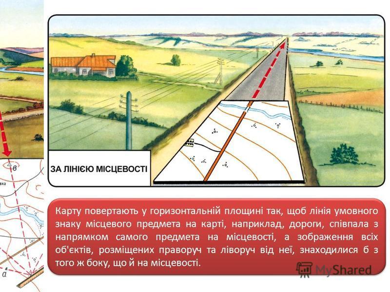 Карту повертають у горизонтальній площині так, щоб лінія умовного знаку місцевого предмета на карті, наприклад, дороги, співпала з напрямком самого предмета на місцевості, а зображення всіх об'єктів, розміщених праворуч та ліворуч від неї, знаходилис