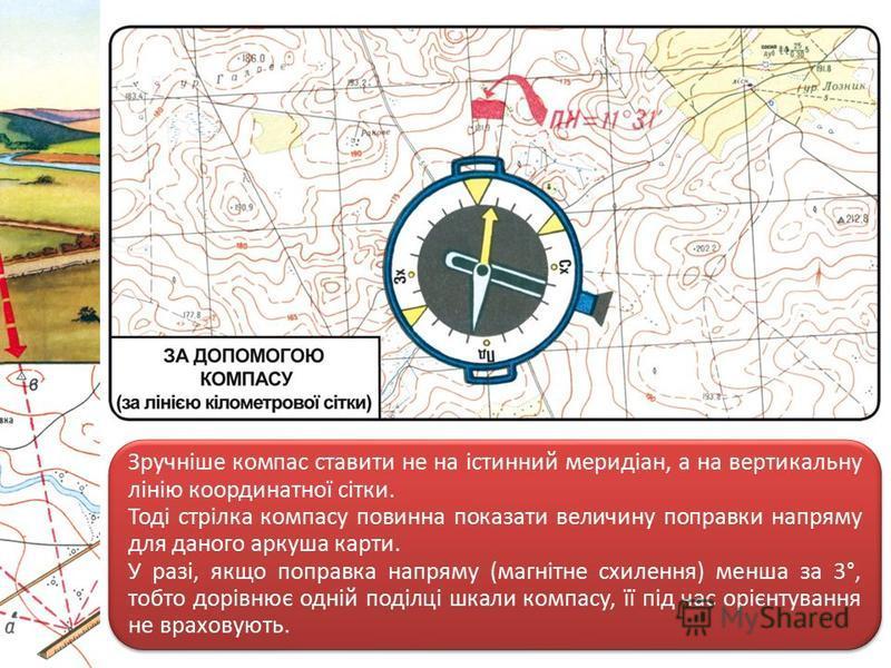 Зручніше компас ставити не на істинний меридіан, а на вертикальну лінію координатної сітки. Тоді стрілка компасу повинна показати величину поправки напряму для даного аркуша карти. У разі, якщо поправка напряму (магнітне схилення) менша за 3°, тобто