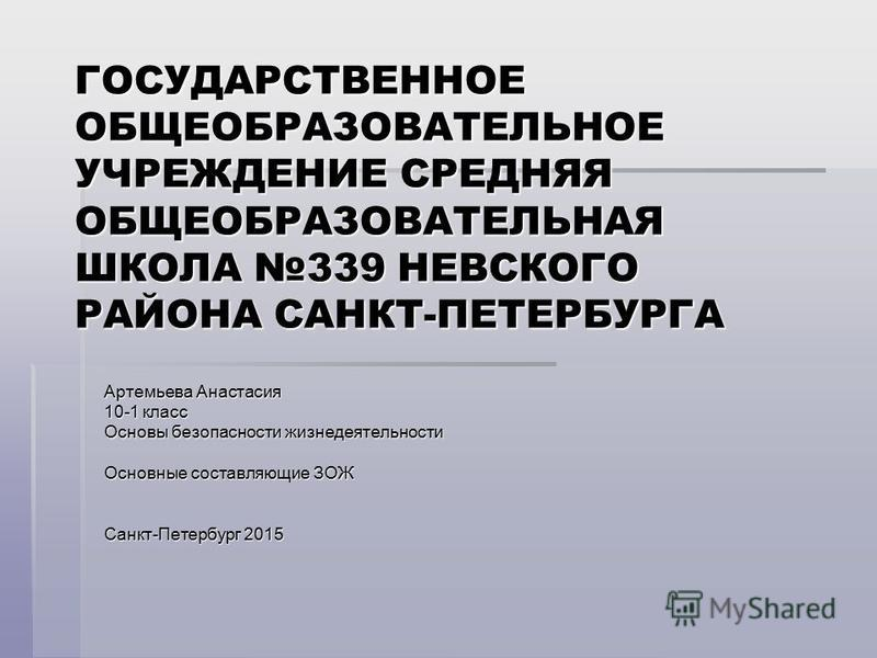 ГОСУДАРСТВЕННОЕ ОБЩЕОБРАЗОВАТЕЛЬНОЕ УЧРЕЖДЕНИЕ СРЕДНЯЯ ОБЩЕОБРАЗОВАТЕЛЬНАЯ ШКОЛА 339 НЕВСКОГО РАЙОНА САНКТ-ПЕТЕРБУРГА Артемьева Анастасия 10-1 класс Основы безопасности жизнедеятельности Основные составляющие ЗОЖ Санкт-Петербург 2015
