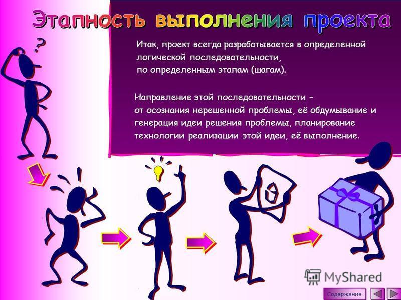 Итак, проект всегда разрабатывается в определенной логической последовательности, по определенным этапам (шагам). Направление этой последовательности – от осознания нерешенной проблемы, её обдумывание и генерация идеи решения проблемы, планирование т