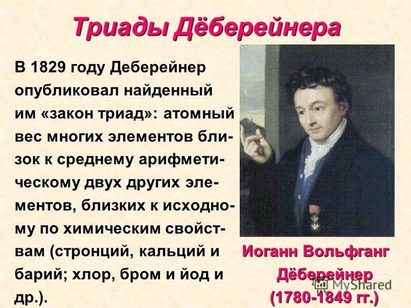 Триады Дёберейнера В 1829 году Деберейнер опубликовал найденный им «закон триад»: атомный вес многих элементов близок к среднему арифметическому двух других эле- ментов, близких к исходно- му по химическим свойств- Иоганн Вольфганг вам (стронций, кал