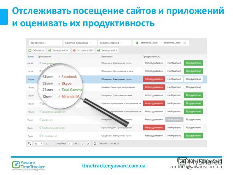 timetracker.yaware.com.ua +38(044) 360-45-13 contact@yaware.com.ua Отслеживать посещение сайтов и приложений и оценивать их продуктивность