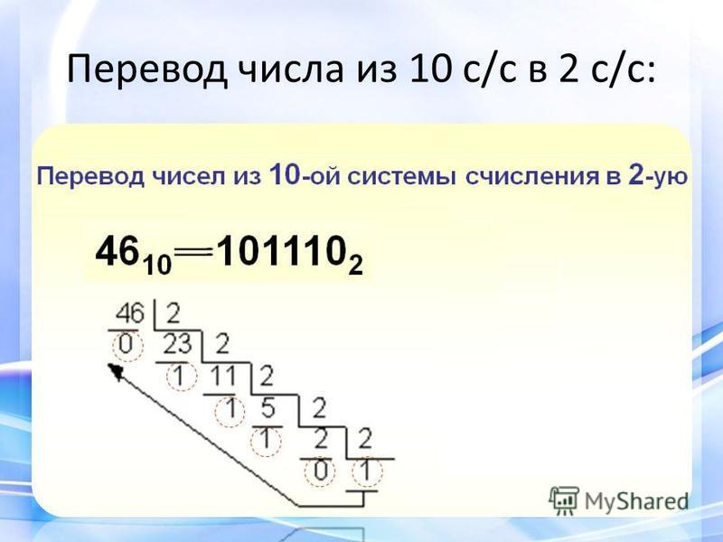 Перевод числа из 10 с/с в 2 с/с: