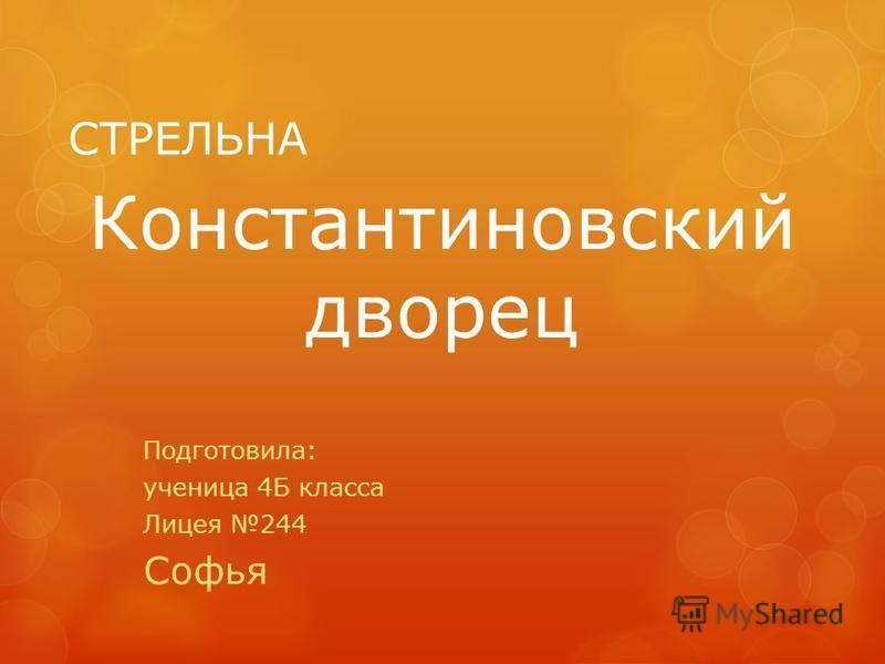 СТРЕЛЬНА Подготовила: ученица 4Б класса Лицея 244 Софья Константиновский дворец