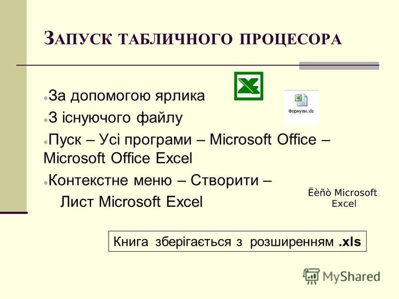 З АПУСК ТАБЛИЧНОГО ПРОЦЕСОРА За допомогою ярлика З існуючого файлу Пуск – Усі програми – Microsoft Office – Microsoft Office Excel Контекстне меню – Створити – Лист Microsoft Excel Книга зберігається з розширенням.xls