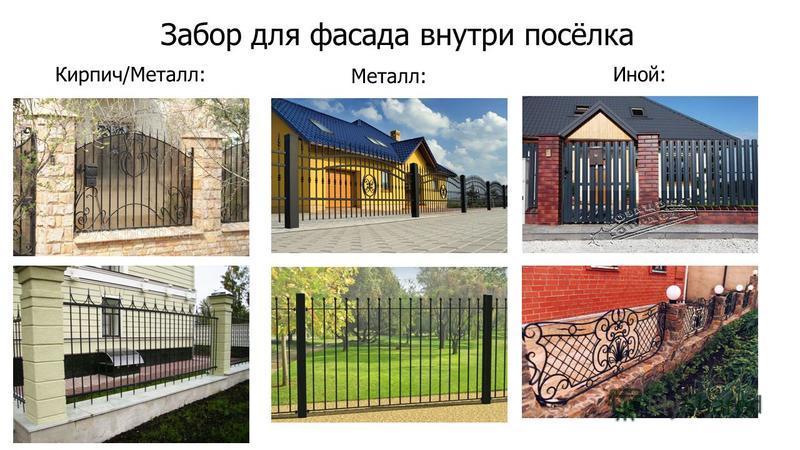 Забор для фасада внутри посёлка Кирпич/Металл: Металл: Иной: