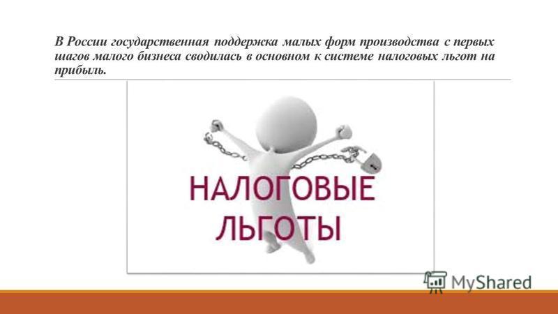 В России государственная поддержка малых форм производства с первых шагов малого бизнеса сводилась в основном к системе налоговых льгот на прибыль.