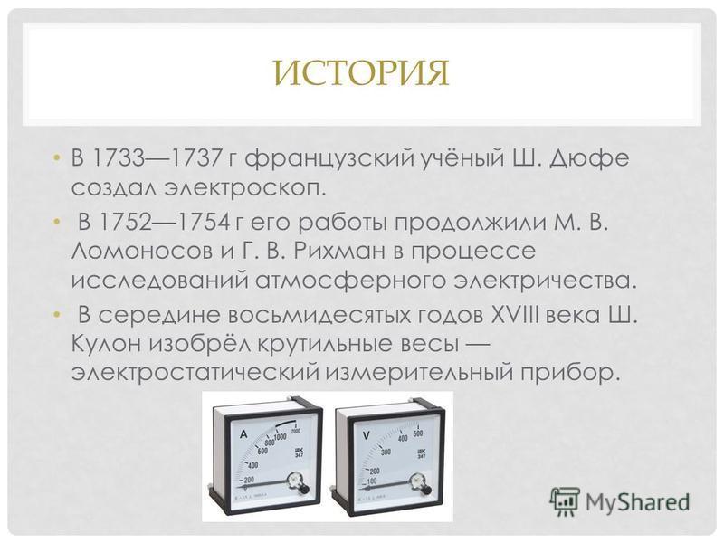 ИСТОРИЯ В 17331737 г французский учёный Ш. Дюфе создал электроскоп. В 17521754 г его работы продолжили М. В. Ломоносов и Г. В. Рихман в процессе исследований атмосферного электричества. В середине восьмидесятых годов XVIII века Ш. Кулон изобрёл крути