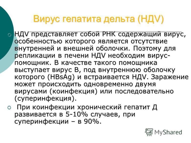 Вирус гепатита дельта (НДV) Вирус гепатита дельта (НДV) НДV представляет собой РНК содержащий вирус, особенностью которого является отсутствие внутренней и внешней оболочки. Поэтому для репликации в печени НДV необходим вирус- помощник. В качестве та