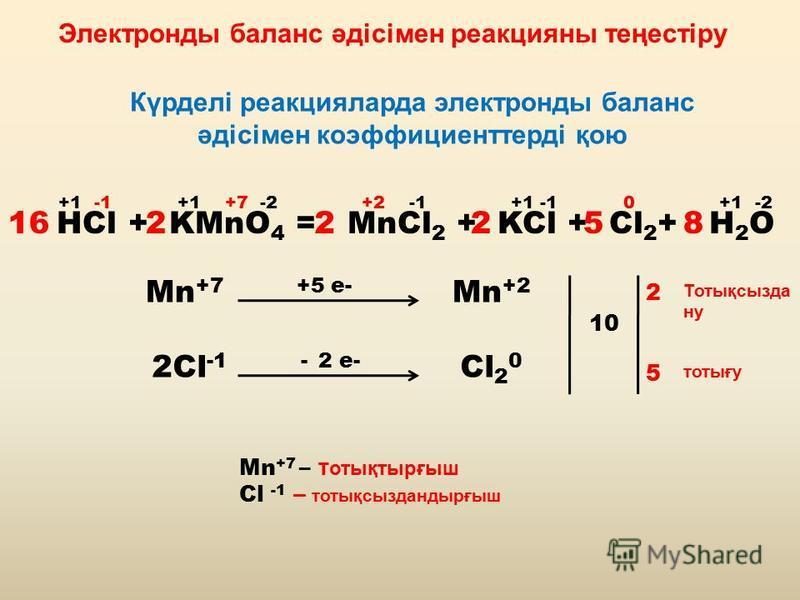 Электронды баланс әдісімен реакцияны теңестіру Күрделі реакцияларда электронды баланс әдісімен коэффициенттерді қою HCl + KMnO 4 = MnCl 2 + KCl + Cl 2 + H 2 O +1 -1 +1 +7 -2 +2 -1 +1 -1 0 +1 -2 Mn +7 +5 e- Mn +2 2Cl -1 - 2 e- Cl 2 0 10 2 5 2252168 То