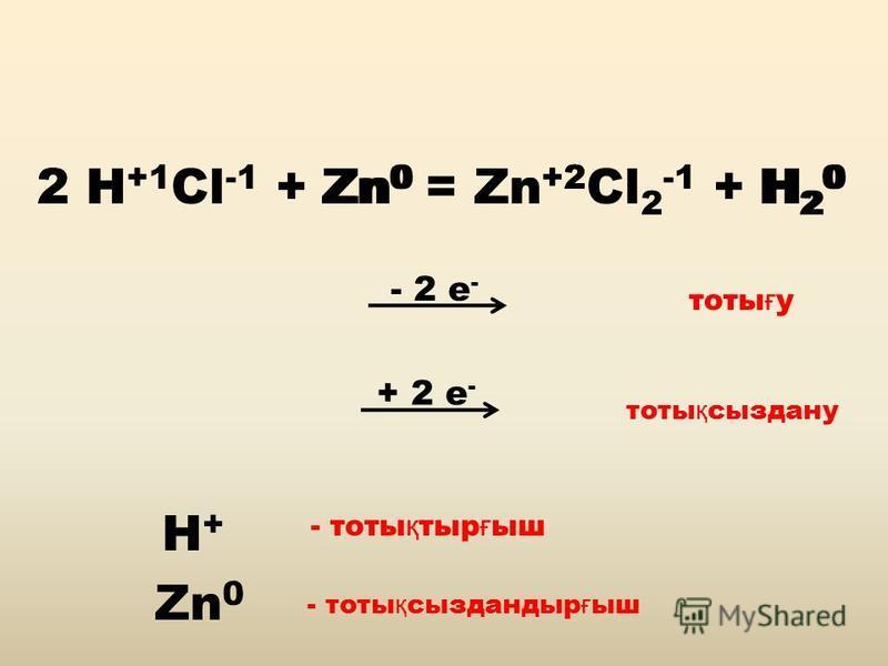 - 2 е - 2 H +1 Cl -1 + Zn 0 = Zn +2 Cl 2 -1 + H 2 0 Zn 0 2 H + Zn +2 H20H20 + 2 е - тоты ғ у тоты қ сыздану H+H+ Zn 0 - тоты қ тыр ғ ыш - тоты қ сыздандыр ғ ыш