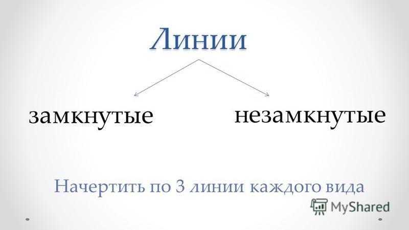 Линии замкнутые незамкнутые Начертить по 3 линии каждого вида