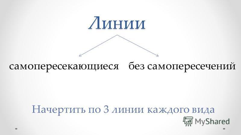 Линии само пересекающиеся без самопересечений Начертить по 3 линии каждого вида