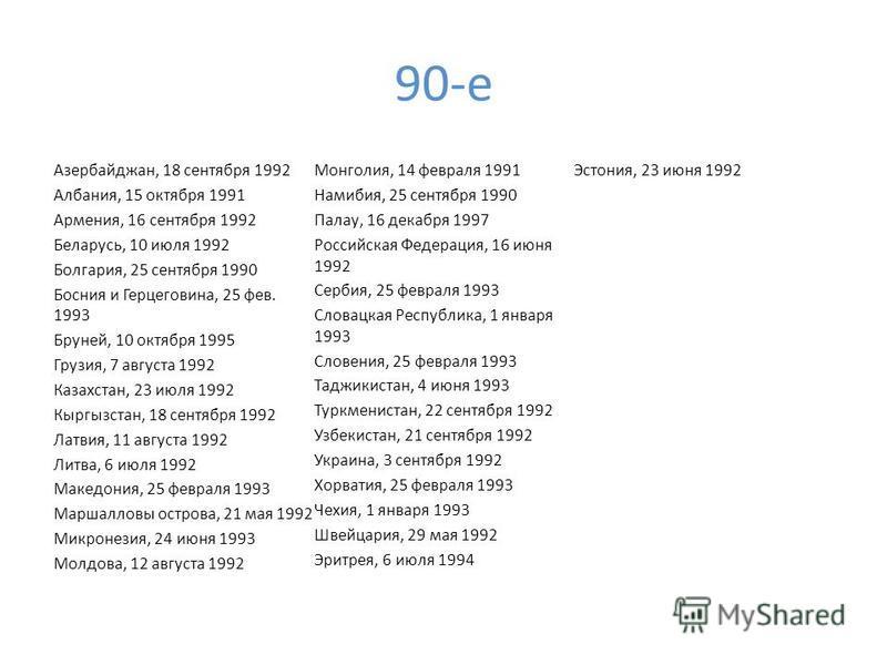 90-е Азербайджан, 18 сентября 1992 Албания, 15 октября 1991 Армения, 16 сентября 1992 Беларусь, 10 июля 1992 Болгария, 25 сентября 1990 Босния и Герцеговина, 25 фев. 1993 Бруней, 10 октября 1995 Грузия, 7 августа 1992 Казахстан, 23 июля 1992 Кыргызст