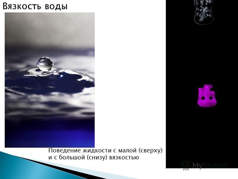 Поведение жидкости с малой (сверху) и с большой (снизу) вязкостью Вязкость воды