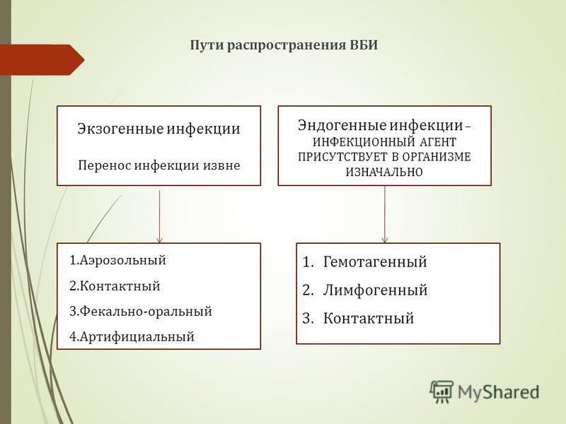 Пути распространения ВБИ Экзогенные инфекции Перенос инфекции извне Эндогенные инфекции – ИНФЕКЦИОННЫЙ АГЕНТ ПРИСУТСТВУЕТ В ОРГАНИЗМЕ ИЗНАЧАЛЬНО 1. Аэрозольный 2. Контактный 3.Фекально-оральный 4. Артифициальный 1. Гемотагенный 2. Лимфогенный 3.Конта